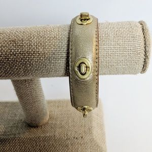 Coach Gold Leather Turnlock Bracelet